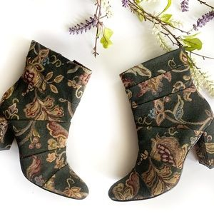 POETIC LICENSE   Green Floral Patchwork Boots